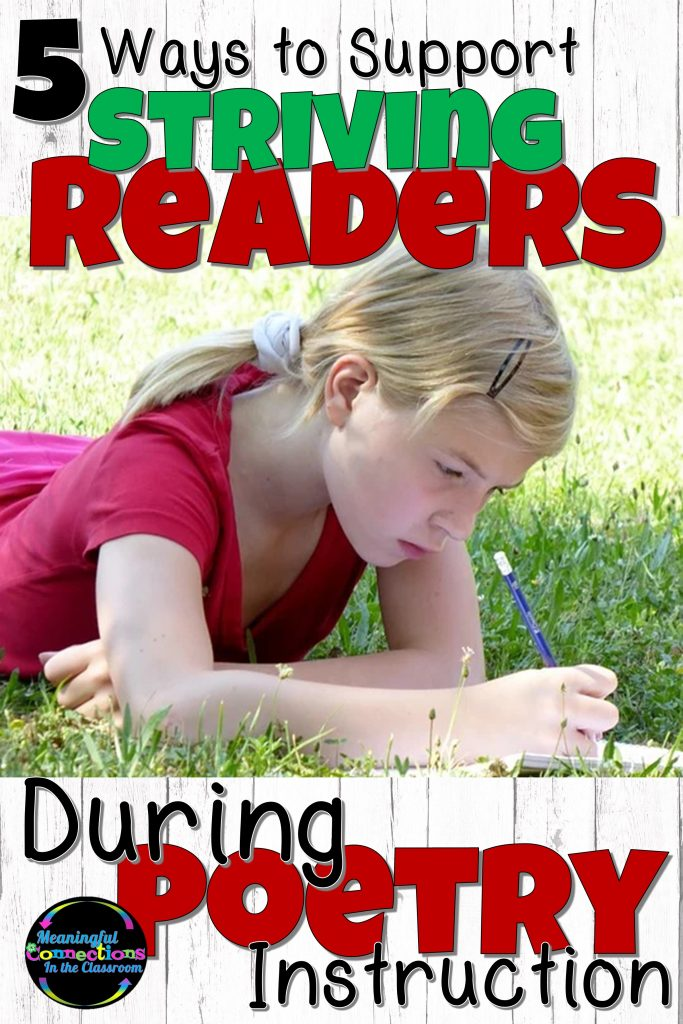 Pin this to your Pinterest boards for ways to support striving readers during poetry instruction.